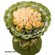情人节鲜花,香槟玫瑰33朵-爱的记忆